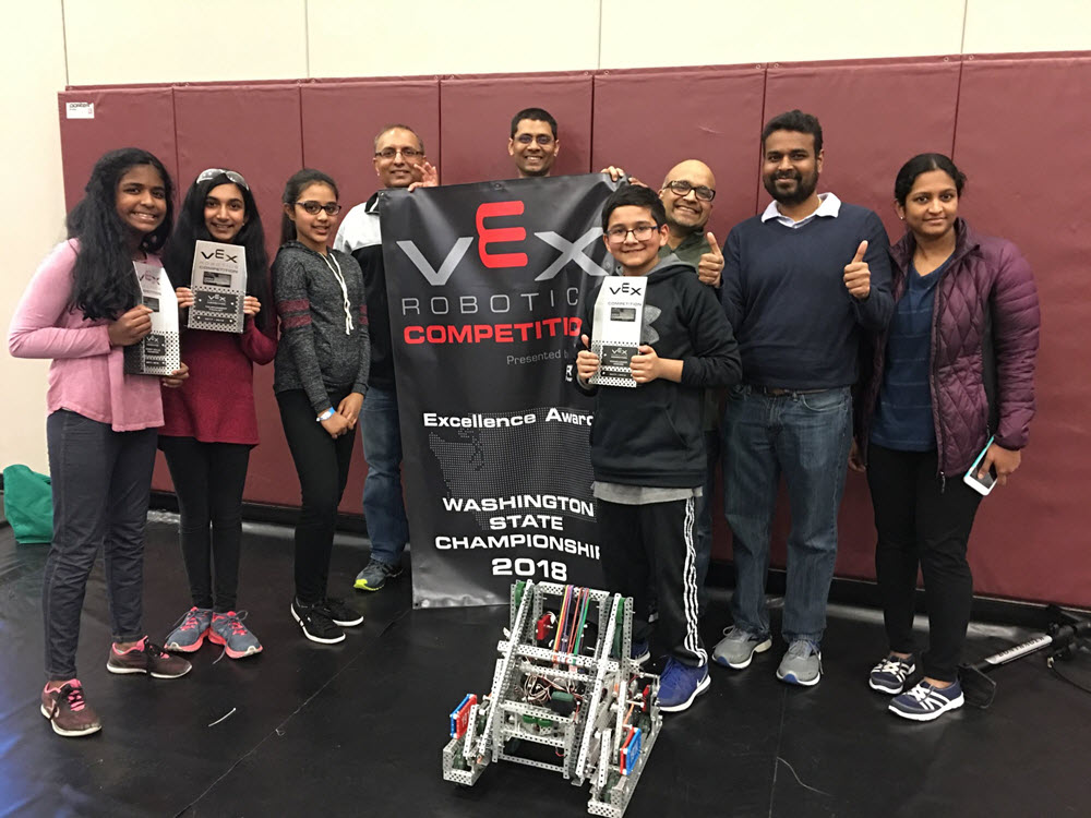 Cosmic Robotz win the VEX Excellence award at State and advance to World Championship in Kentucky.